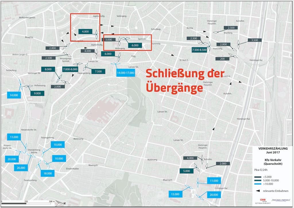 Die Bahnübergänge Jagdschlossgasse und Veitingergasse und Veitingergasse sollen laut Plan dauerhaft geschlossen werden