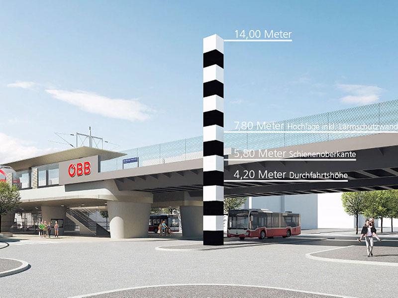Ein Konzept des Bahnhofs Hietzinger Hauptstraße mit Höhenmesstab bis zu 14 meter